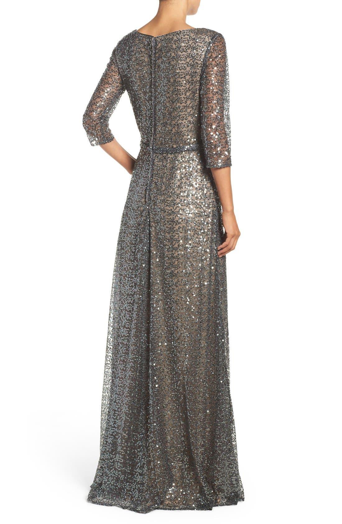 Alternate Image 2  - La Femme Sequin Mesh Gown