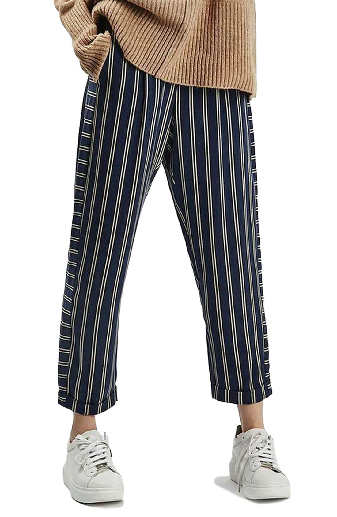 Main Image - Topshop Stripe Peg Trousers