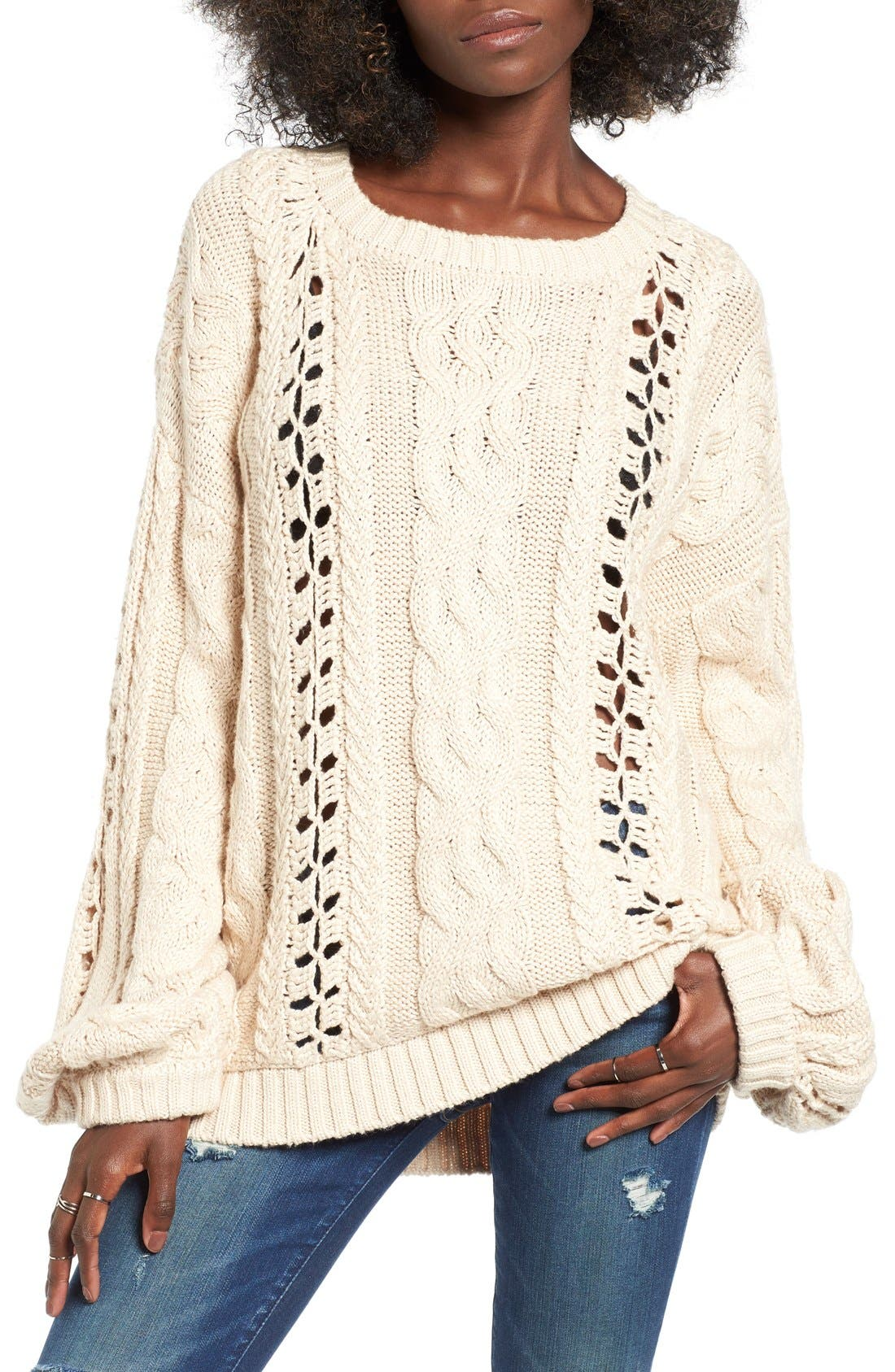 Alternate Image 1 Selected - For Love & Lemons Wythe Cable Knit Sweater
