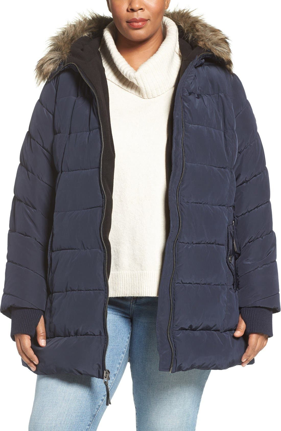 Main Image - Lucky Brand Belted Puffer Jacket with Faux Fur Trim (Plus Size)