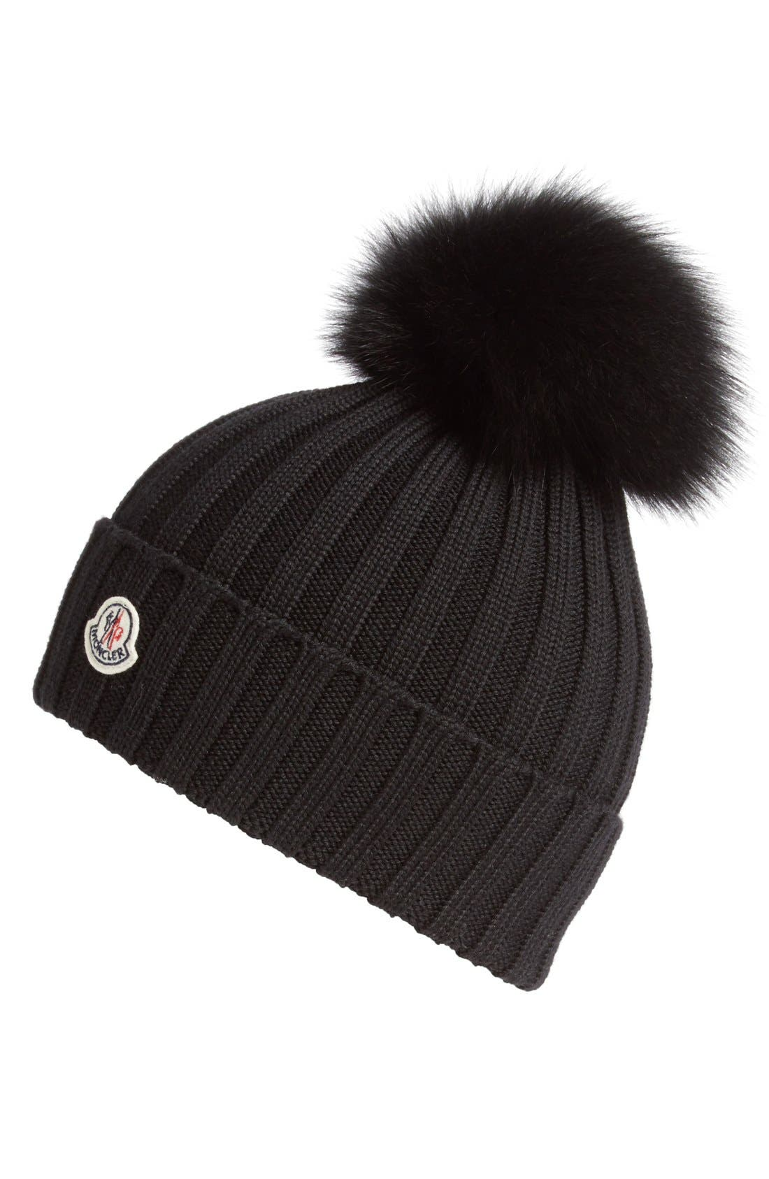 Moncler Genuine Fox Fur Pom Ribbed Wool Beanie