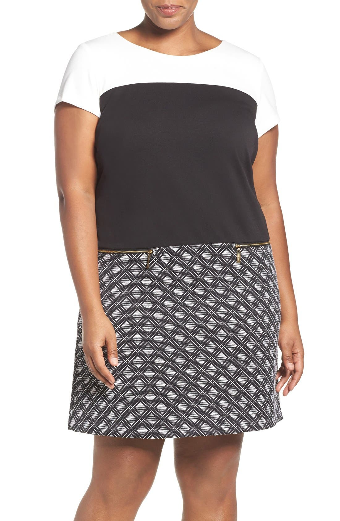 Ellen Tracy Colorblock Ponte & Jacquard A-Line Shift Dress (Plus Size)