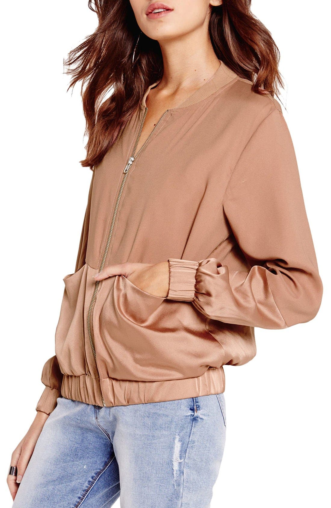 Alternate Image 4  - Missguided Tonal Satin Bomber Jacket