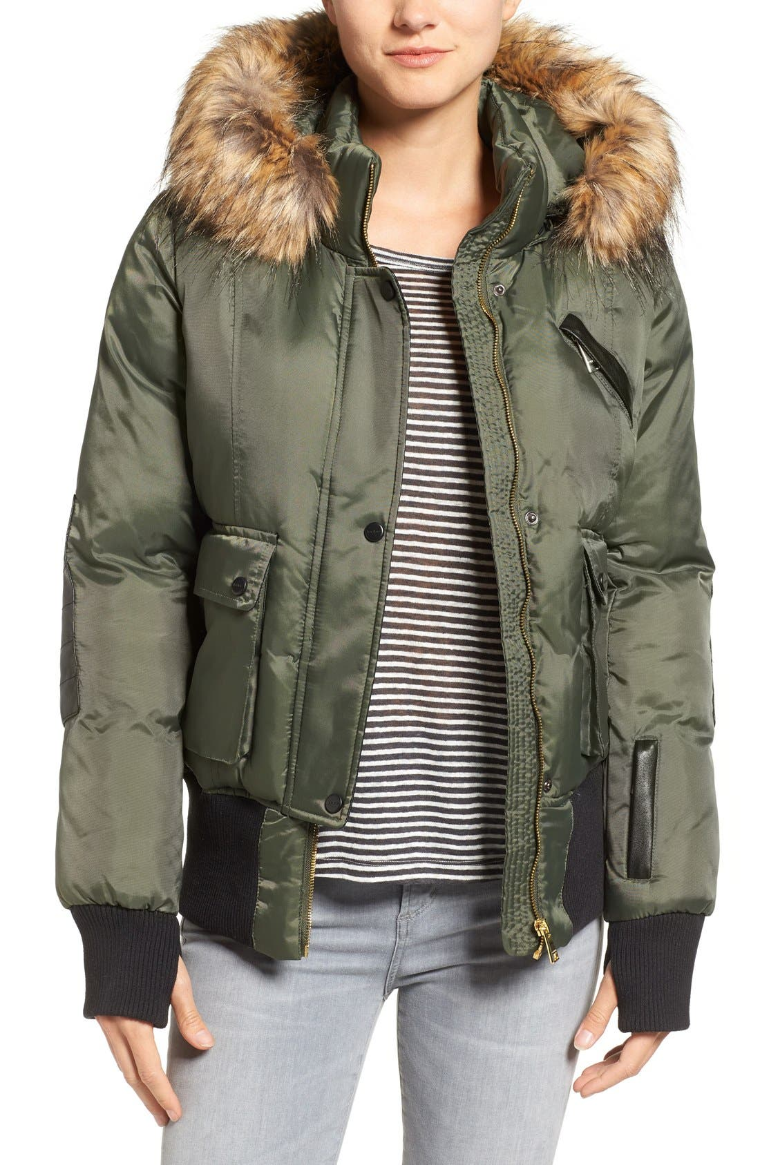 Main Image - bebe Faux Leather & Faux Fur Trim Bomber Jacket with Detachable Hood