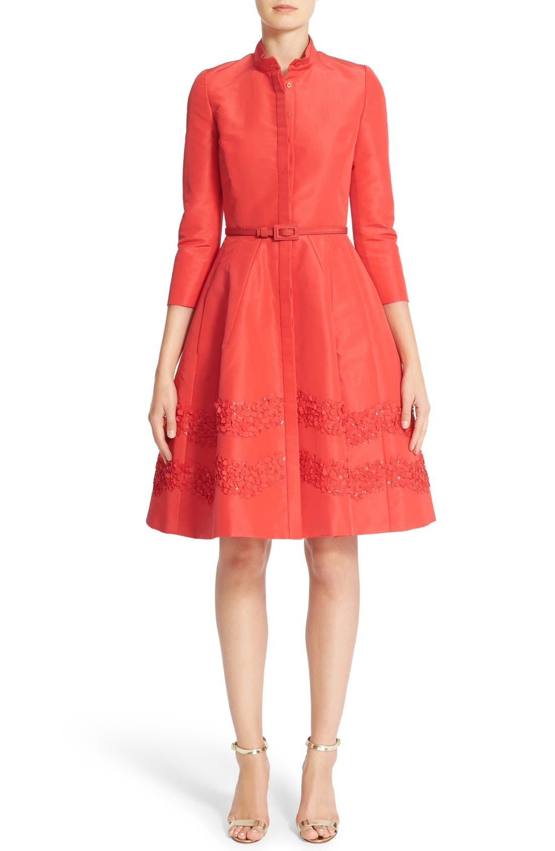 CAROLINA HERRERA Embellished Belted Silk Faille A-Line Shirtdress