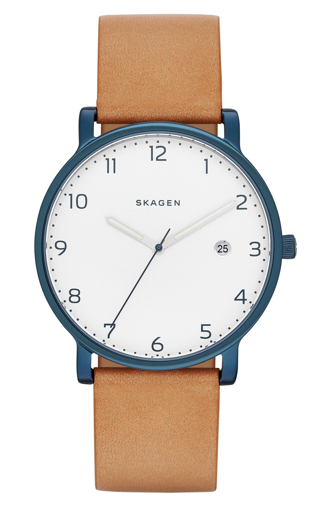 SKAGEN Hagen Round Leather Strap Watch, 40mm