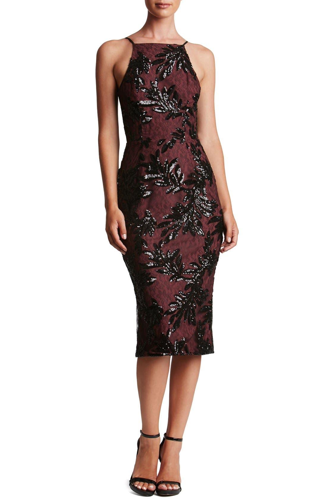 Main Image - Dress the Population Ashley Sequin Lace Sheath Dress