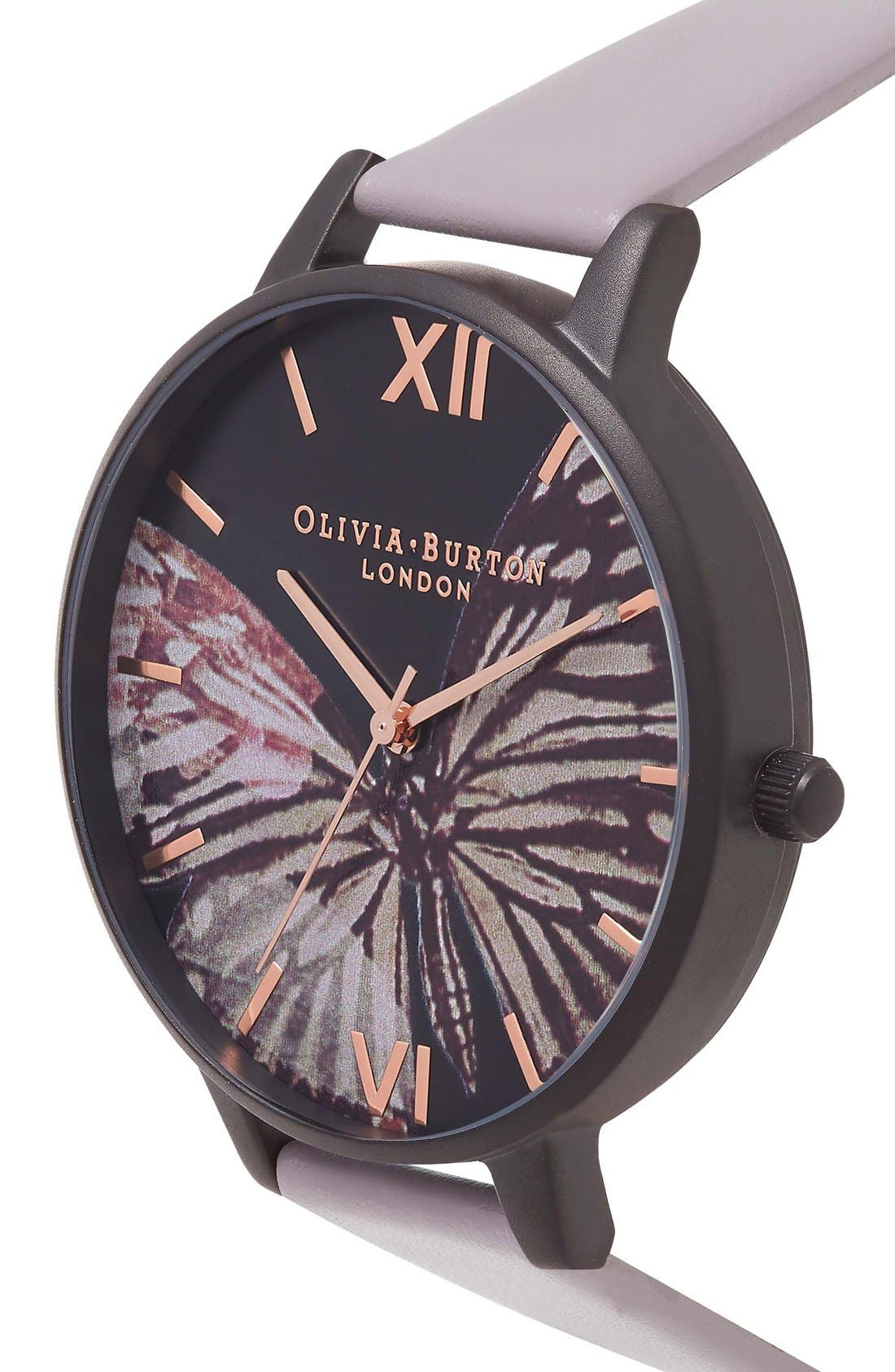 Alternate Image 3  - Olivia Burton After Dark Butterfly Leather Strap Watch, 38mm