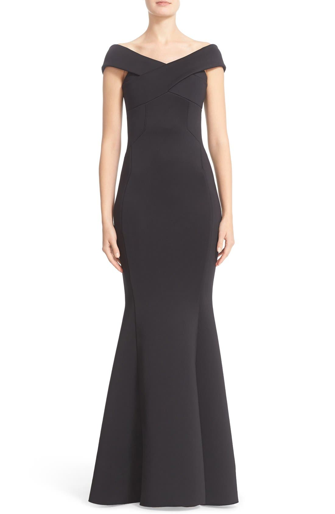 Rachel Gilbert Off the Shoulder Neoprene Mermaid Gown