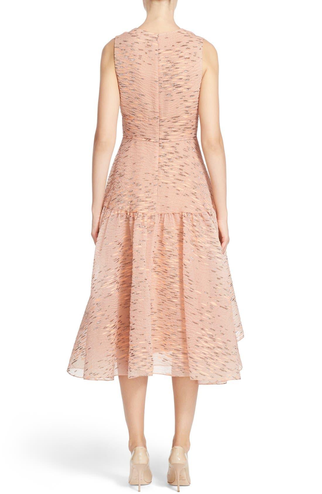 Alternate Image 2  - Lela Rose Minnow Metallic Fil Coupé Dress