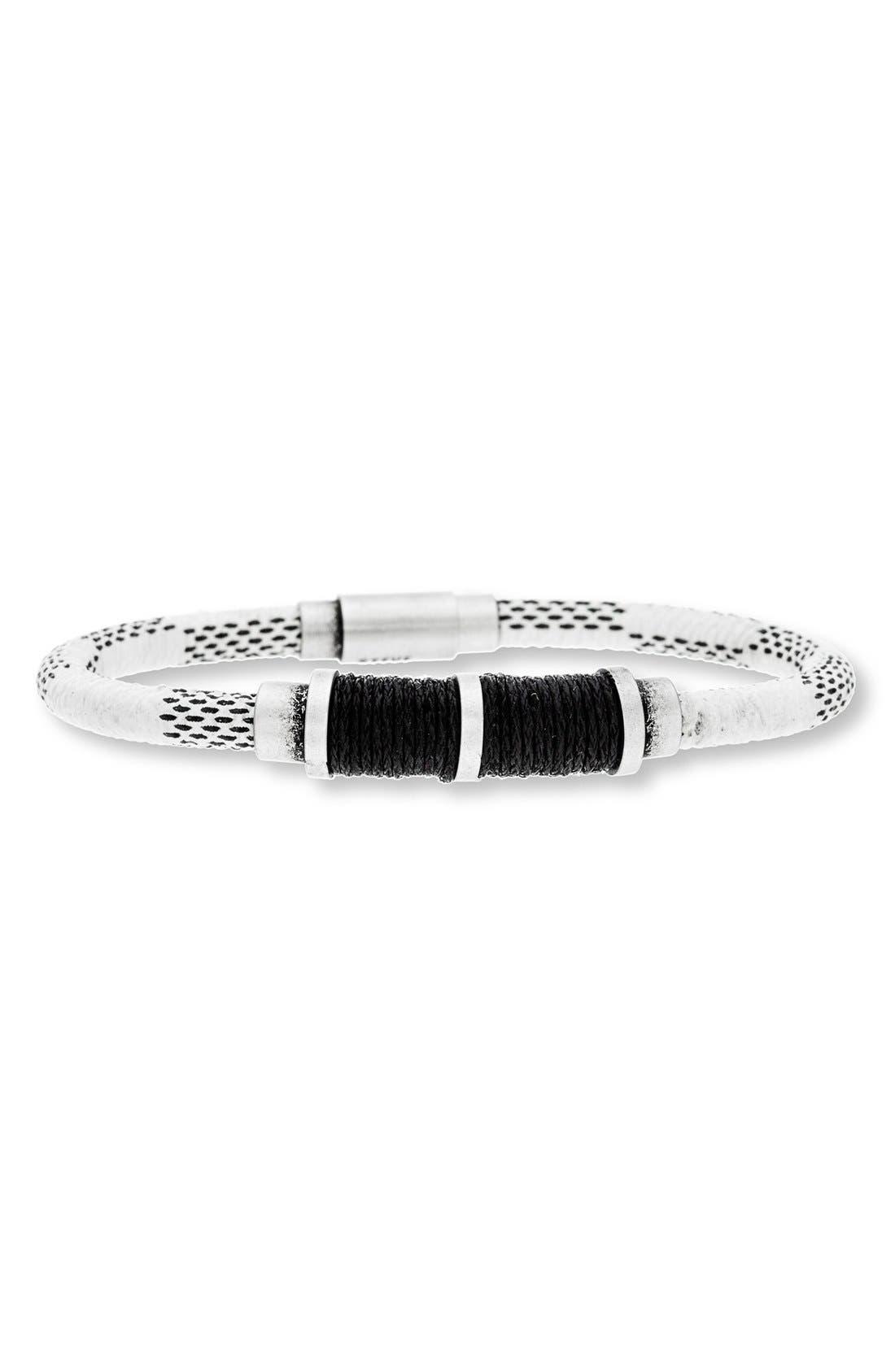 Steve Madden Stainless Steel & Leather Bracelet