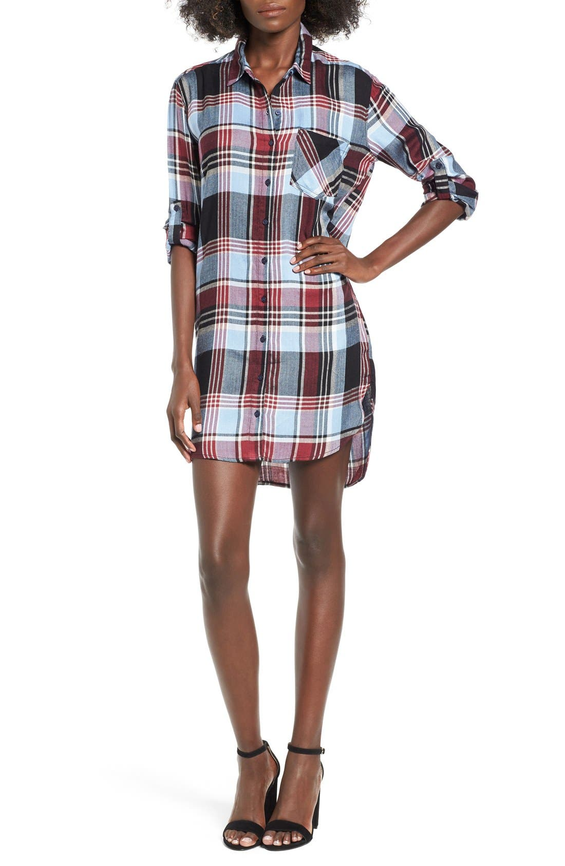 Main Image - SP Black Plaid Shirtdress
