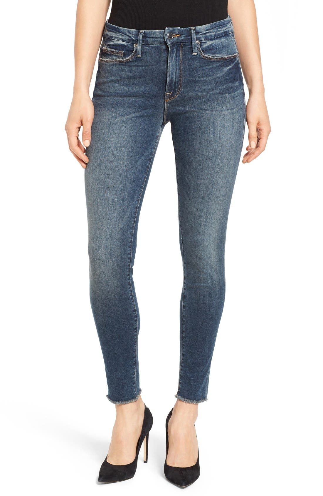 Alternate Image 1 Selected - Good American Good Legs High Rise Skinny Jeans (Blue 005)