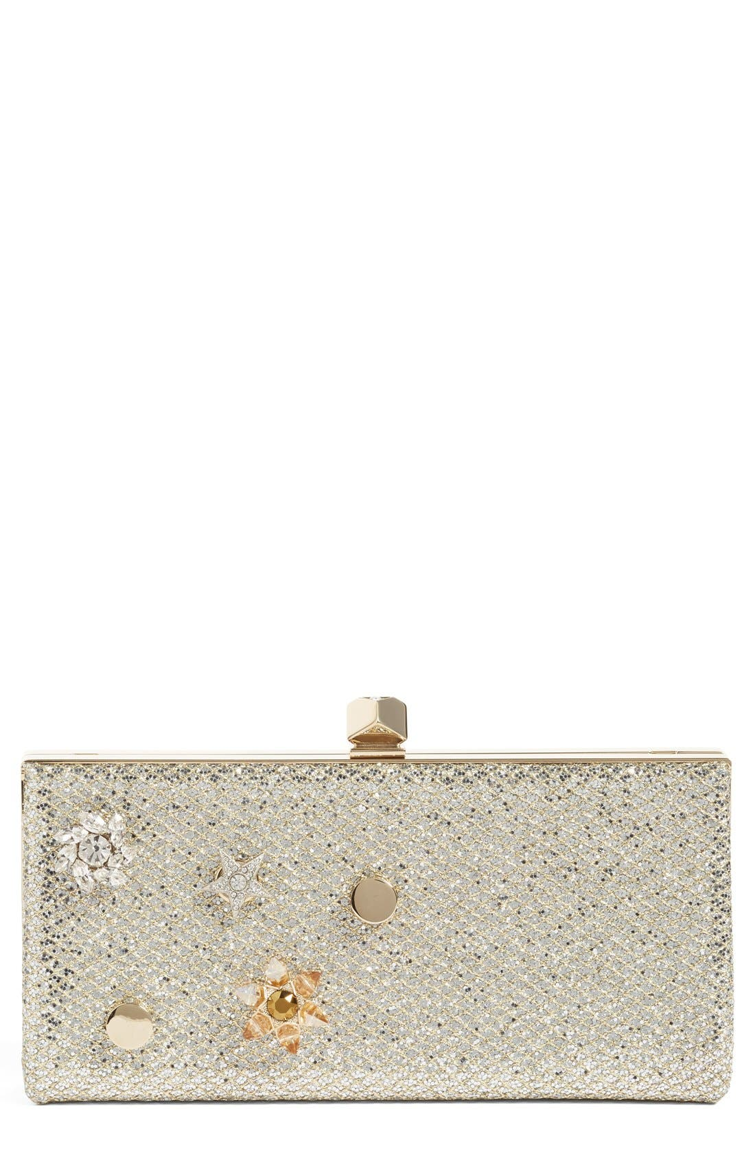 JIMMY CHOO Jewelled Collection Celeste Buttons Glitter Clutch