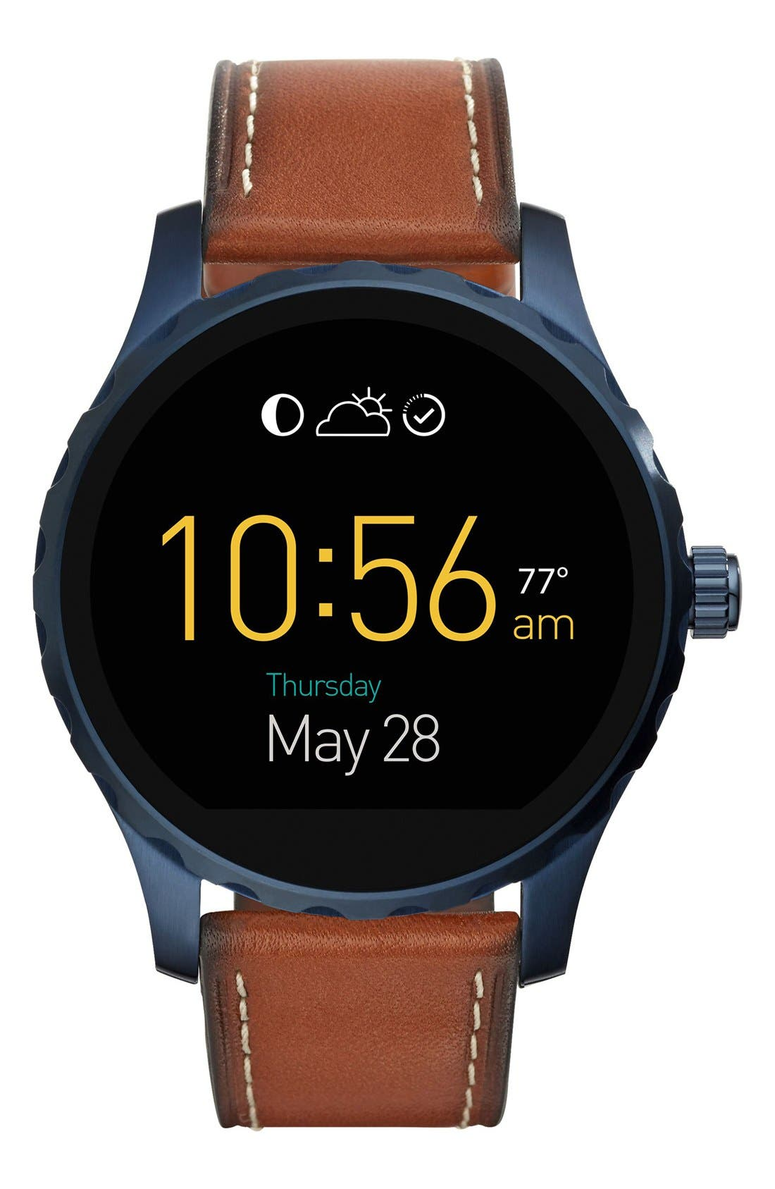 Fossil Q Marshal Leather Strap Digital Smart Watch, 45mm