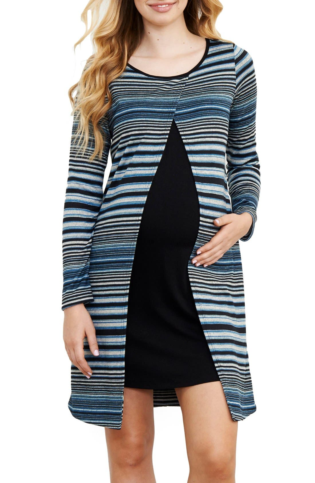 MATERNAL AMERICA Overlay Sweater Maternity Dress