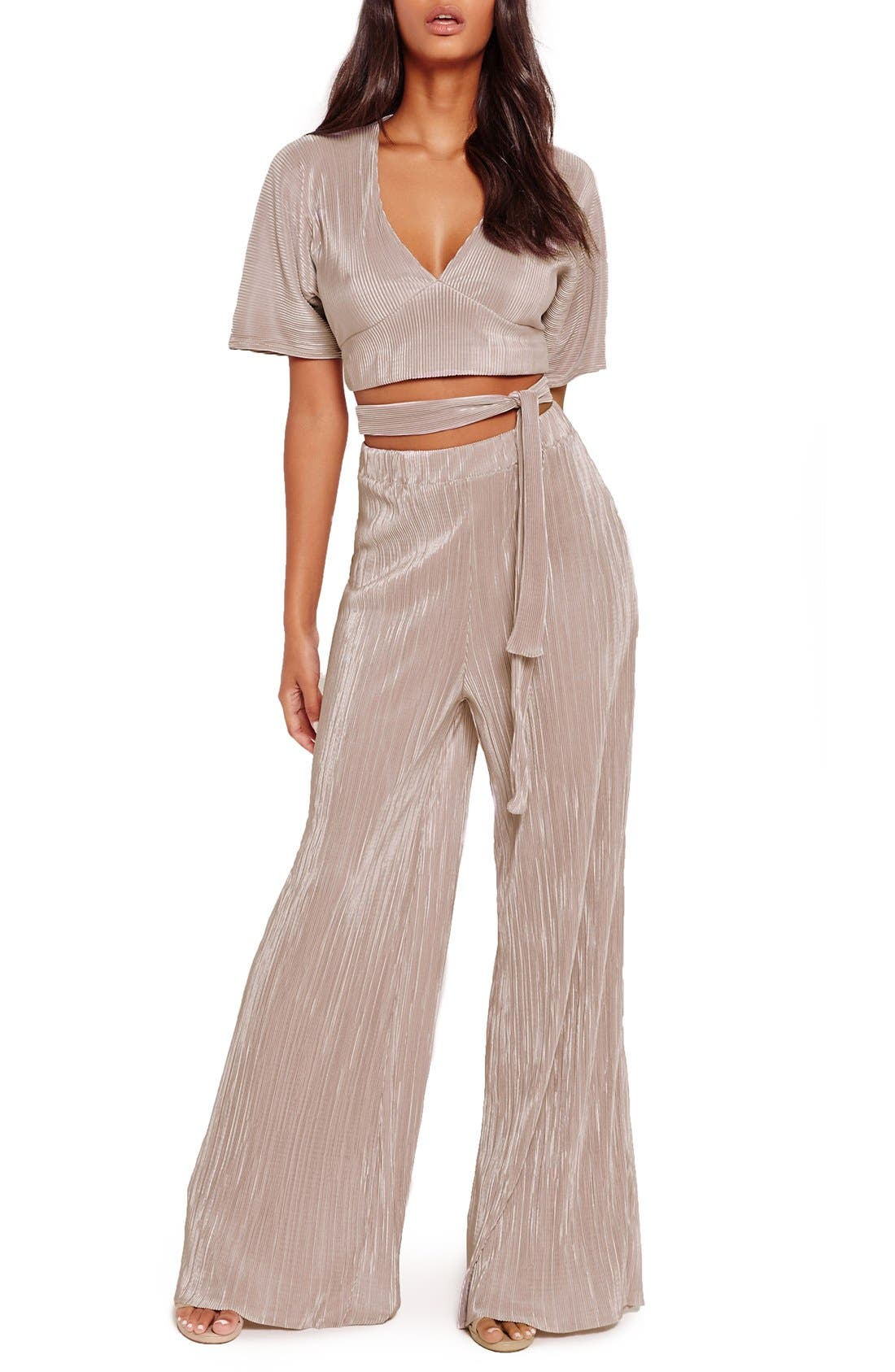 Alternate Image 2  - Missguided Wide Leg Pleat Trousers