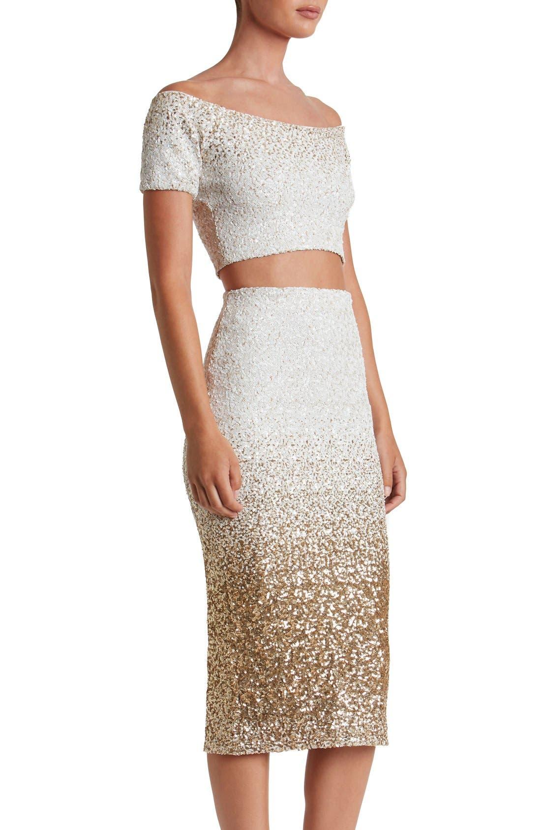 Alternate Image 5  - Dress the Population Emilia Sequin Two-Piece Dress