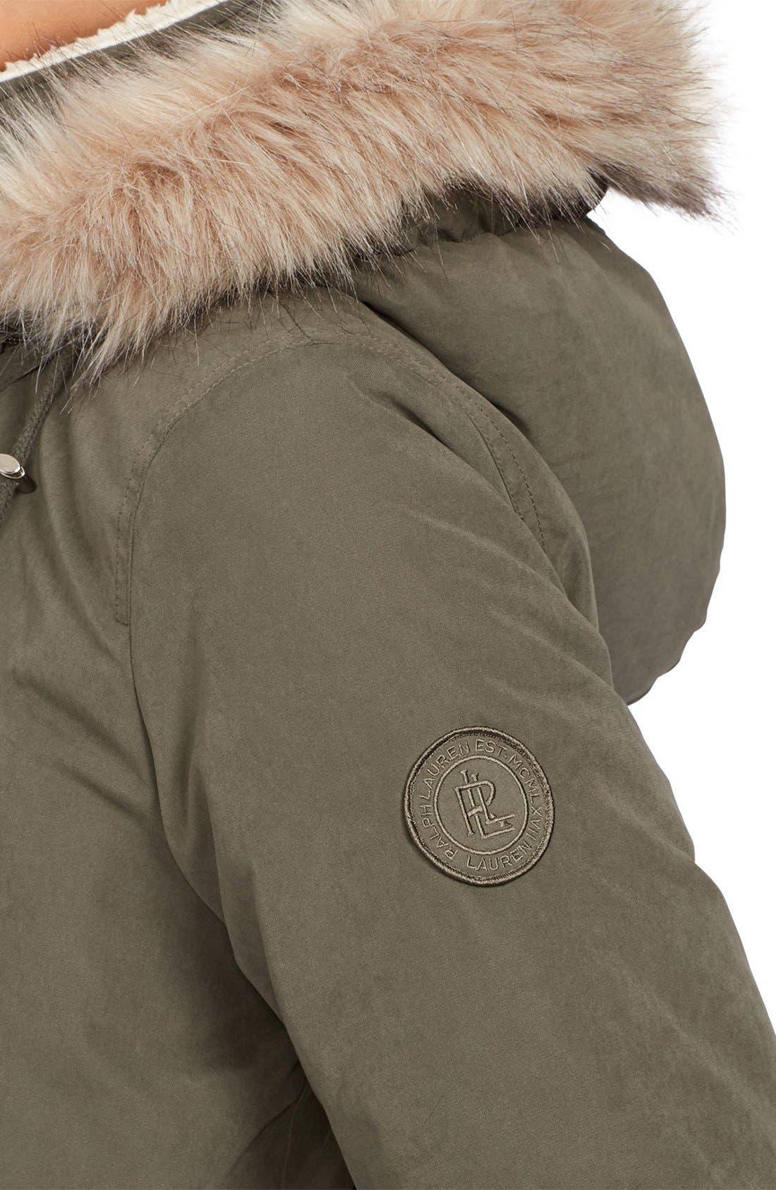 Alternate Image 4  - Lauren Ralph Lauren Faux Fur & Faux Shearling Trim Hooded Down Anorak