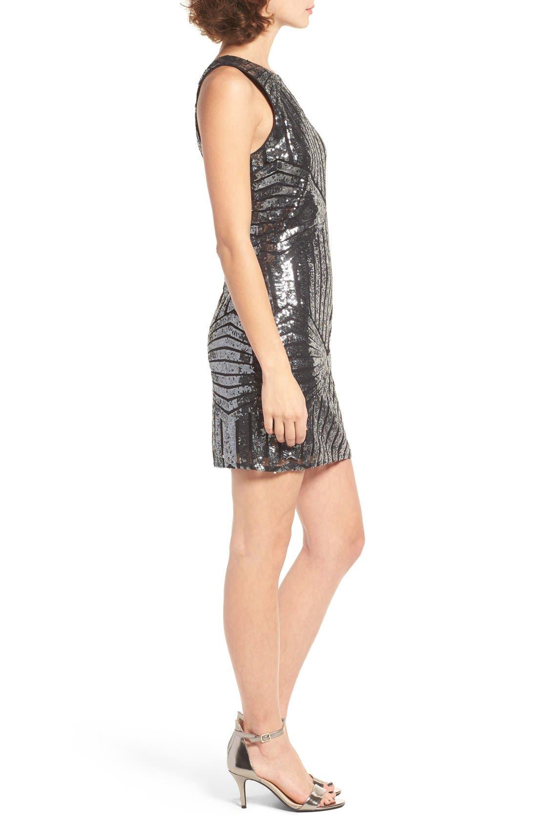 Alternate Image 3  - One Clothing Geometric Sequin Minidress