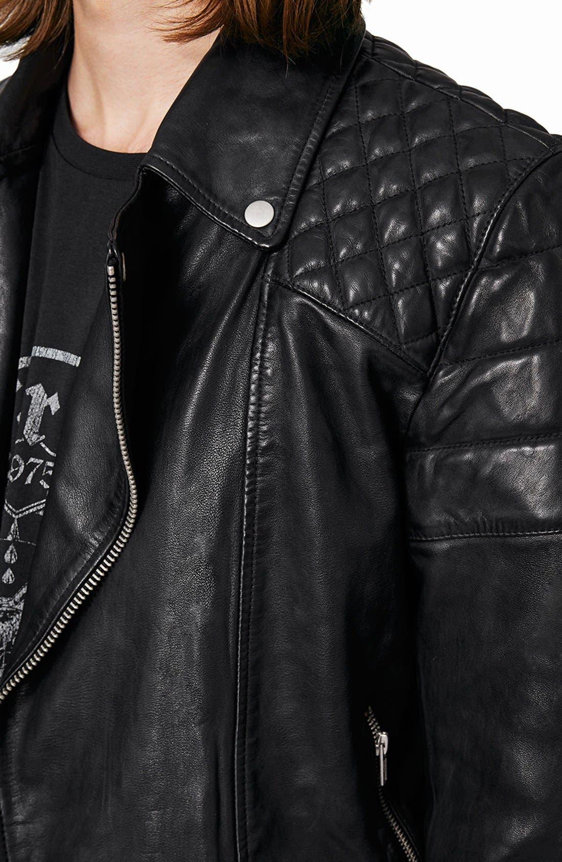 Alternate Image 4  - Topman Quilted Leather Biker Jacket
