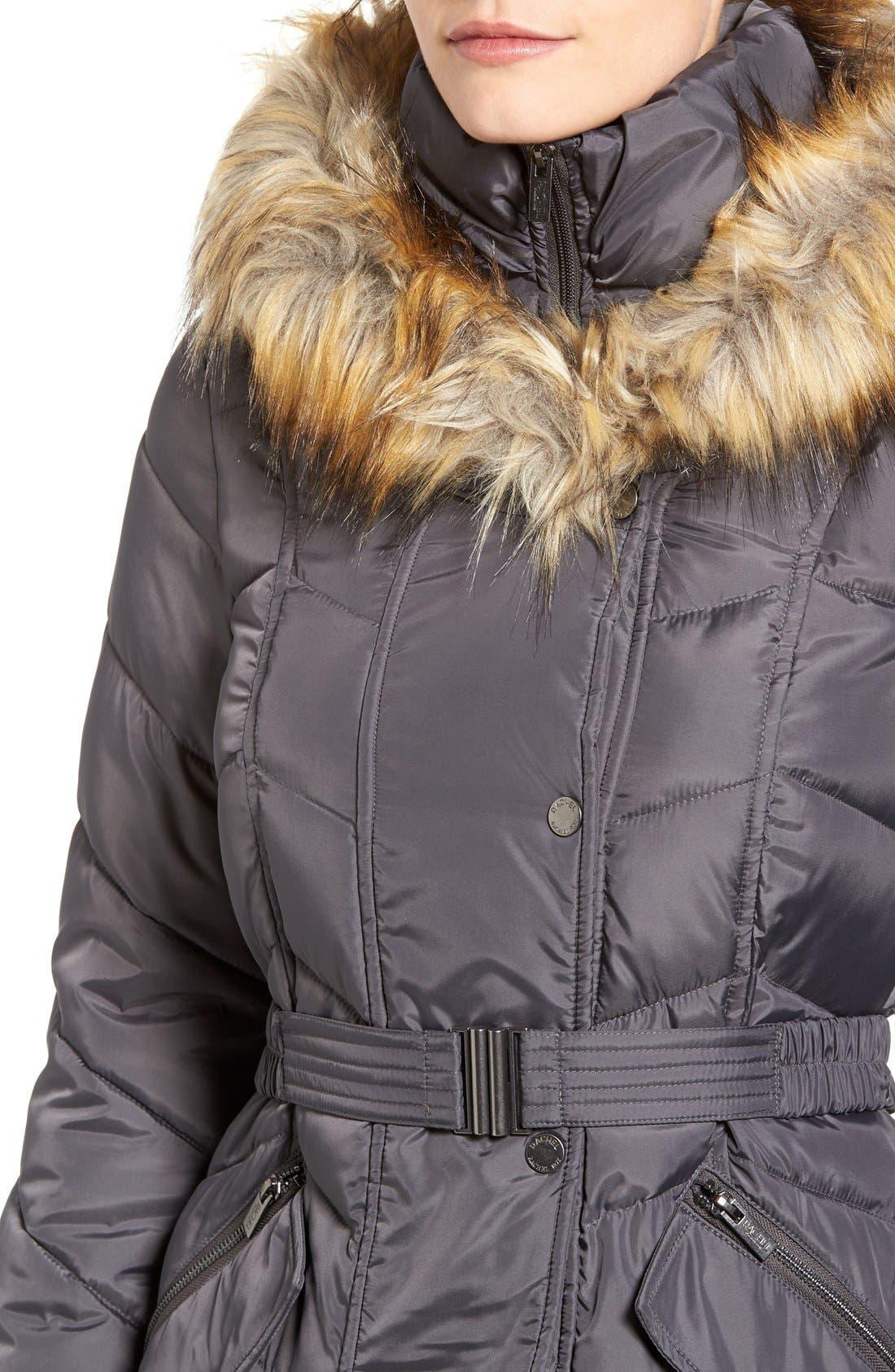 Alternate Image 4  - Rachel Roy Faux Fur Trim Quilted Coat with Bib