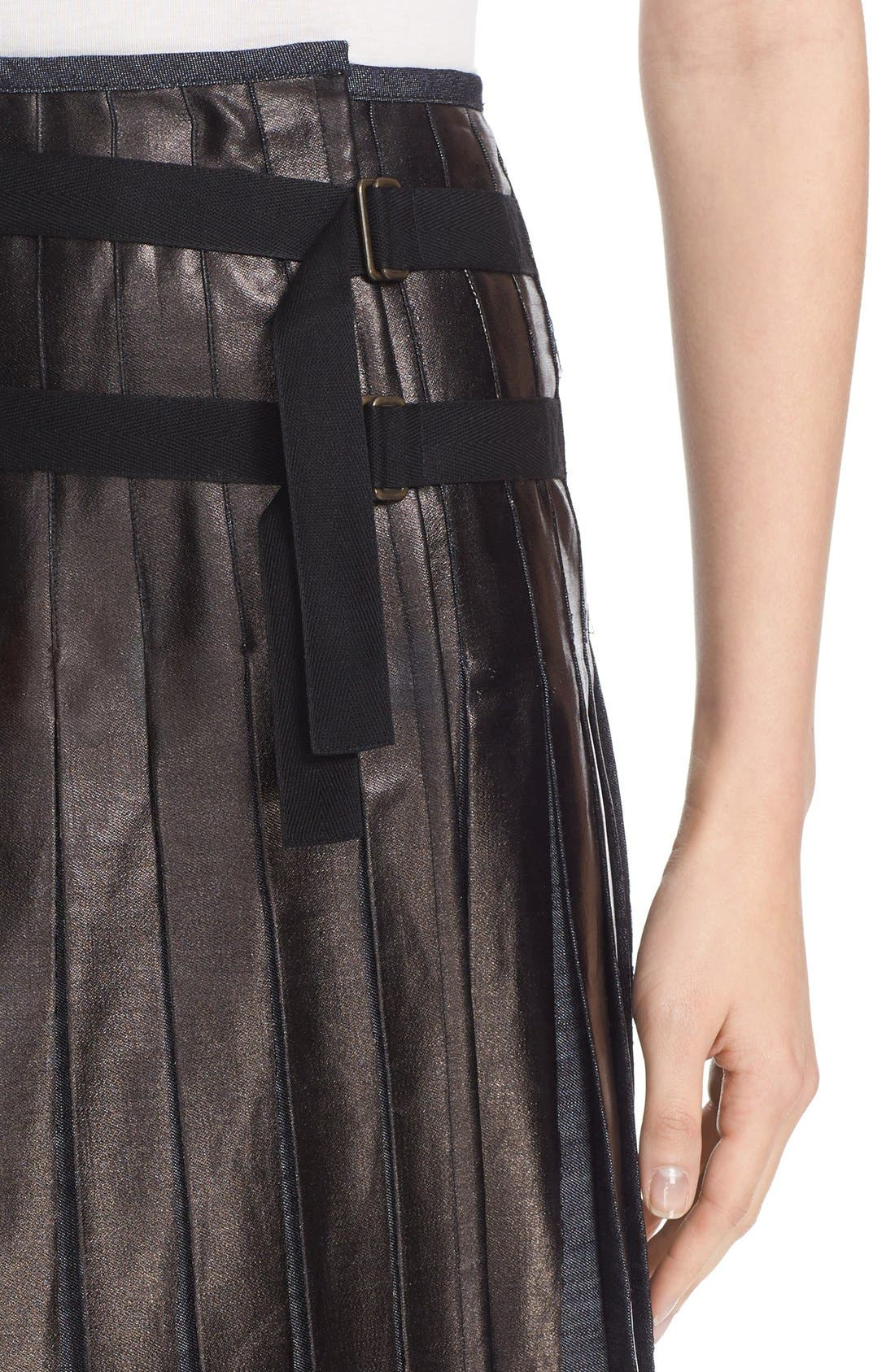 Alternate Image 6  - Tomas Maier Pleated Lacquered Denim Skirt