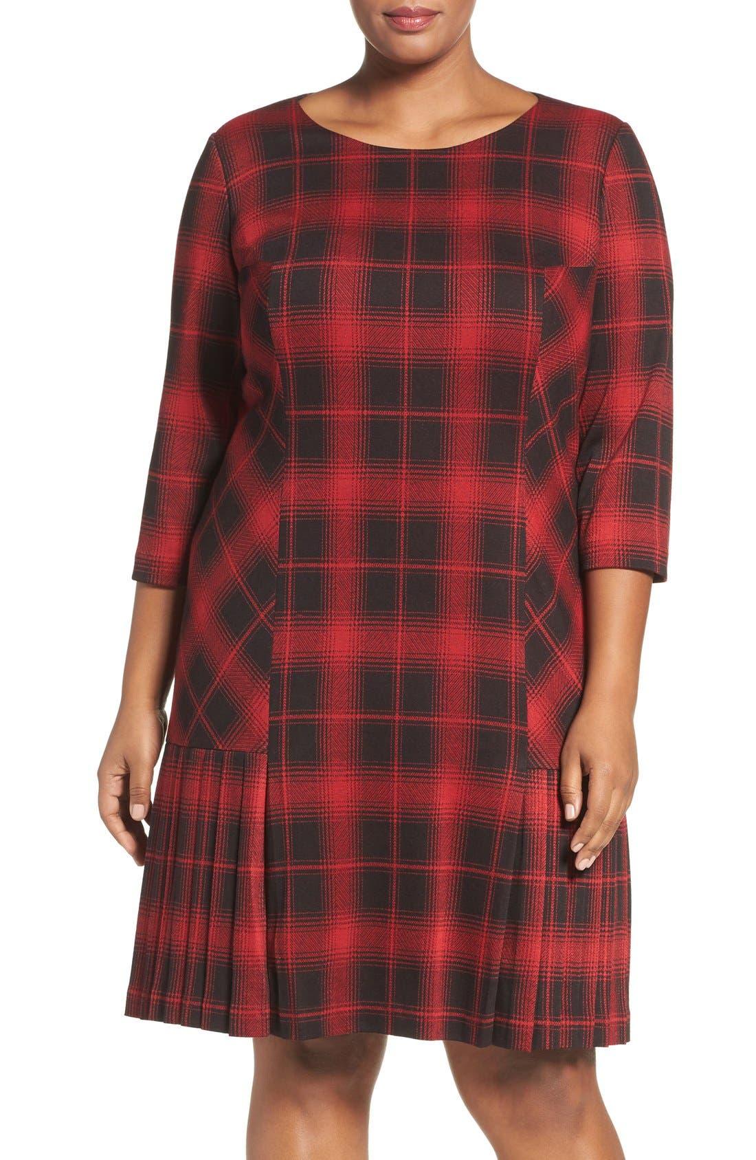 TAHARI Plaid Knit Drop Waist Shift Dress