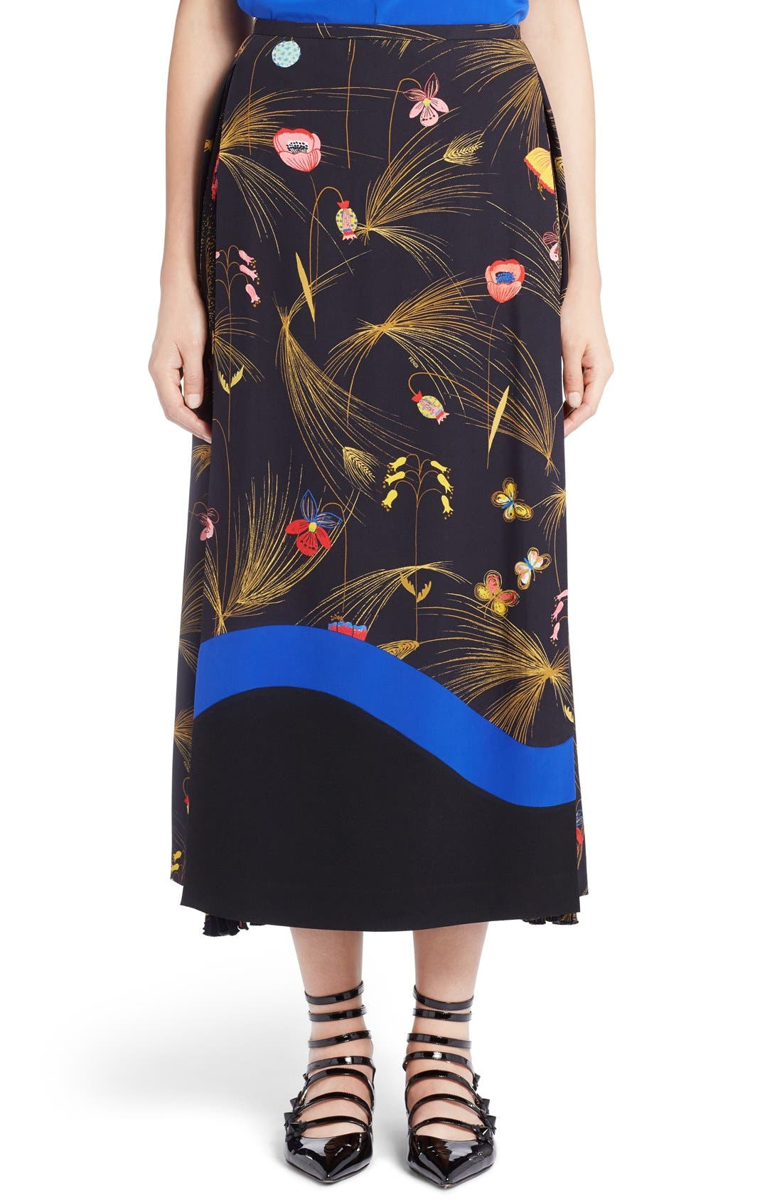 FENDI Pleated Botanical Cady Midi Skirt