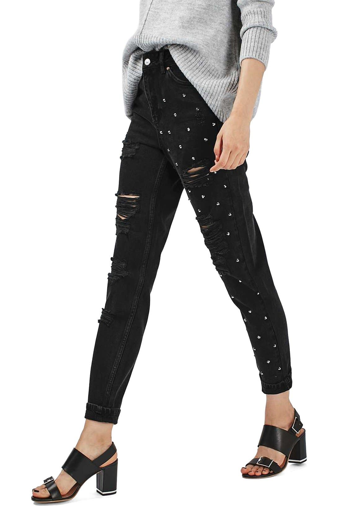 Alternate Image 1 Selected - Topshop Moto Mom Studded Super Ripped Jeans