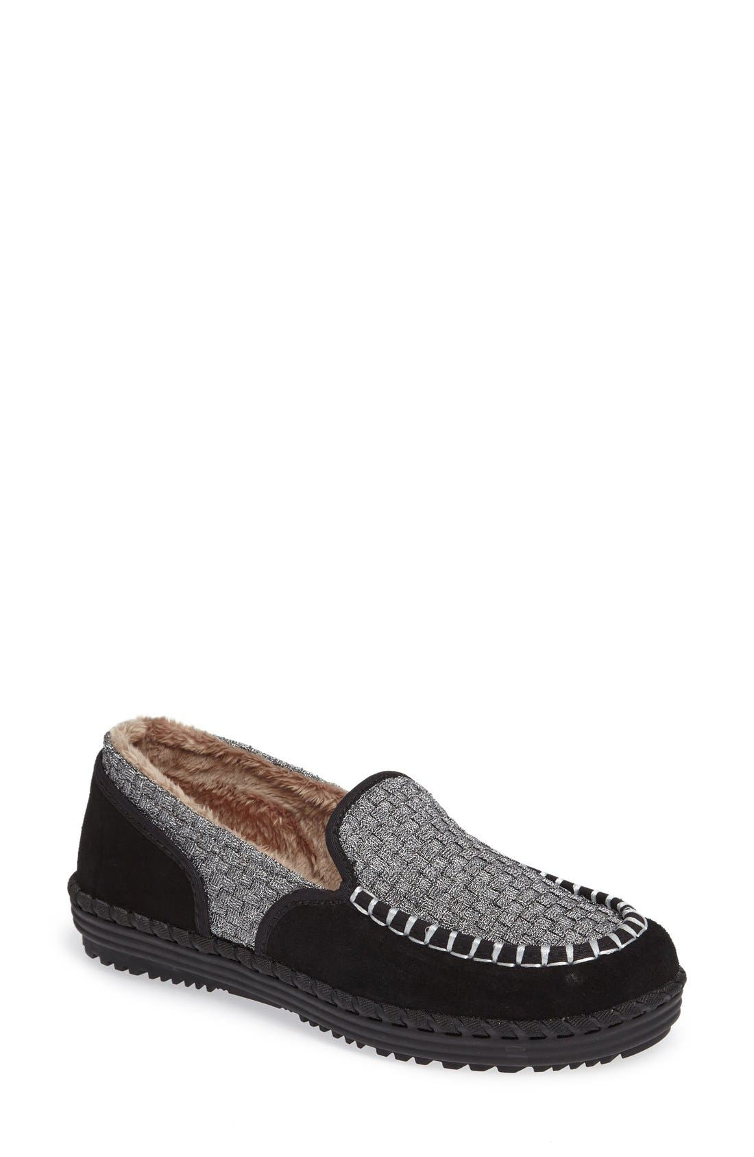 bernie mev. Faux Fur Lined Loafer Slipper (Women)