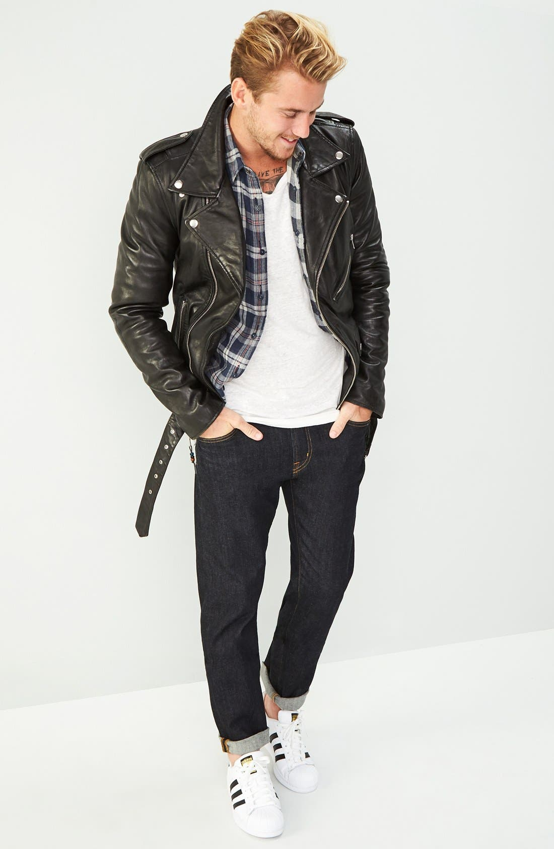Alternate Image 9  - BLK DNM 'Leather Jacket 5' Leather Moto Jacket