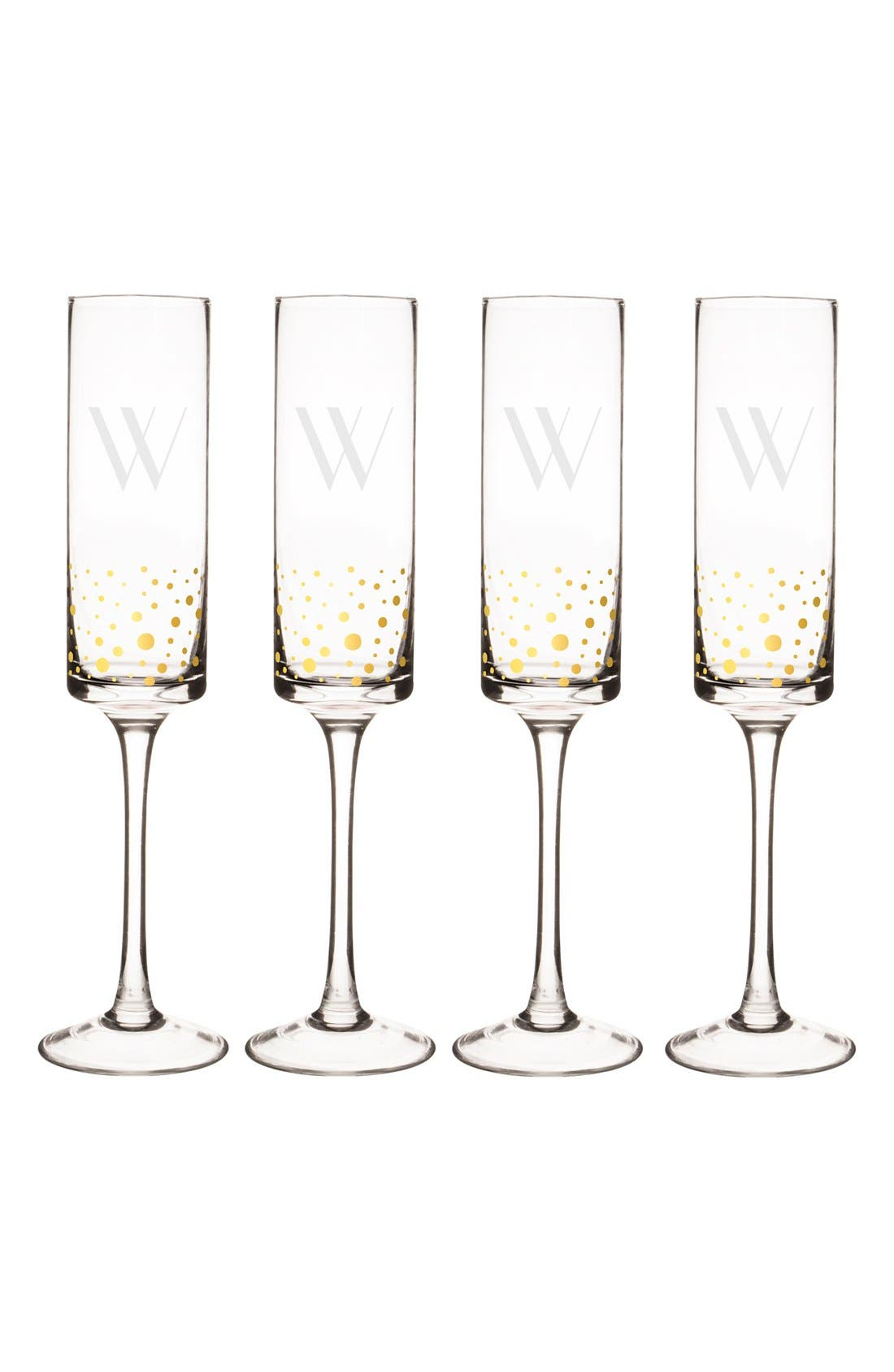 Alternate Image 2  - Cathy's Concepts Gold Dot Monogram Champagne Flutes
