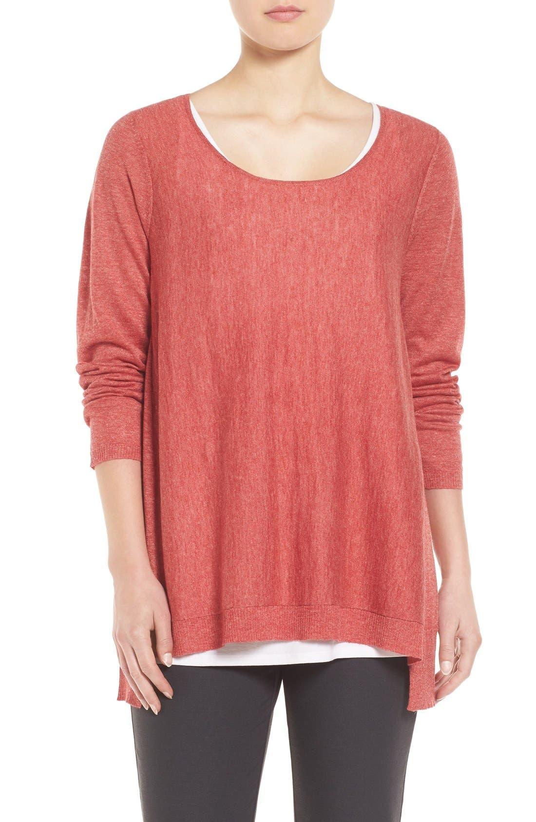 Alternate Image 1 Selected - Eileen Fisher Scoop Neck Sweater (Regular & Petite)