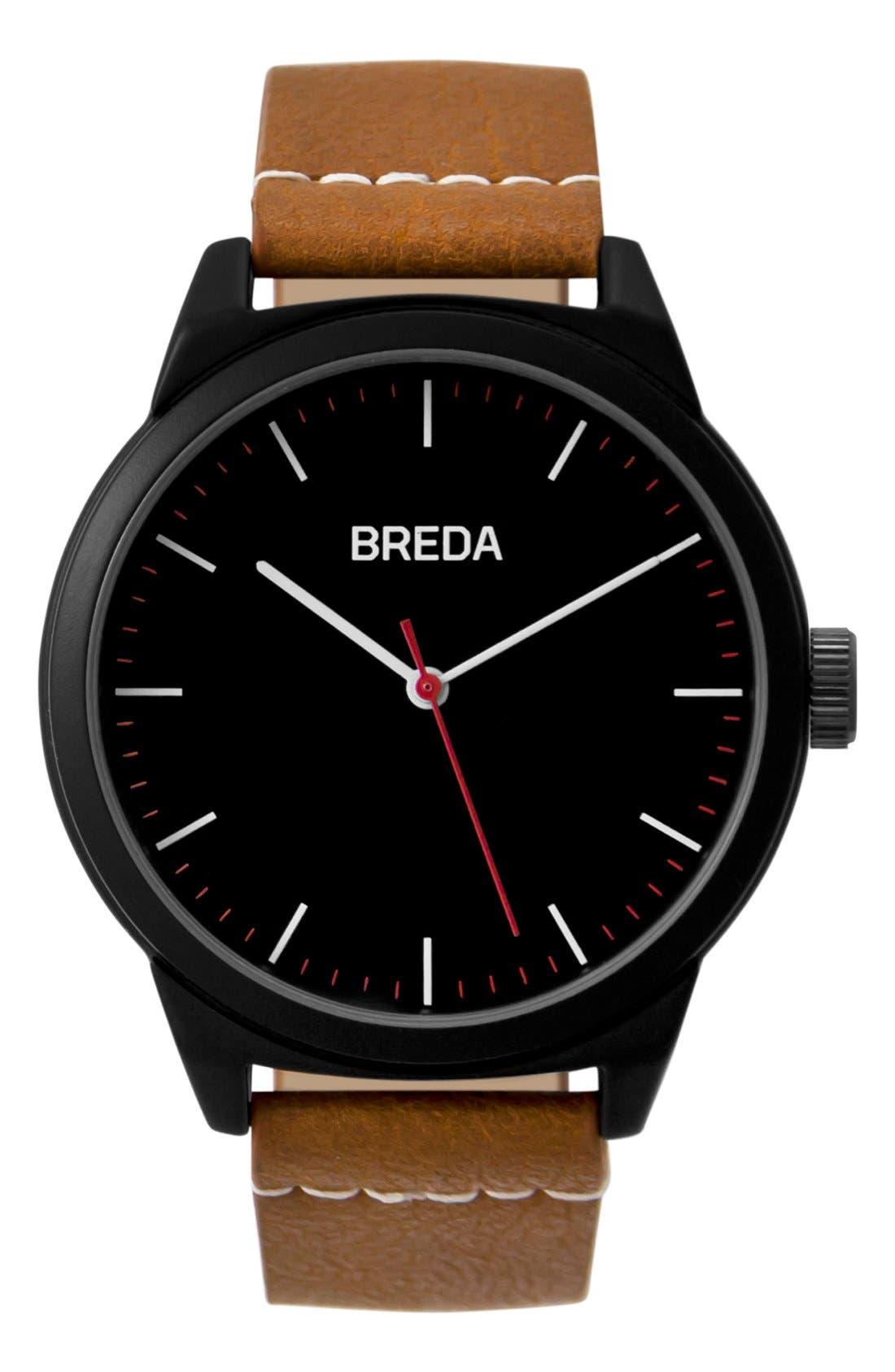 BREDA Rand Leather Strap Watch, 43mm