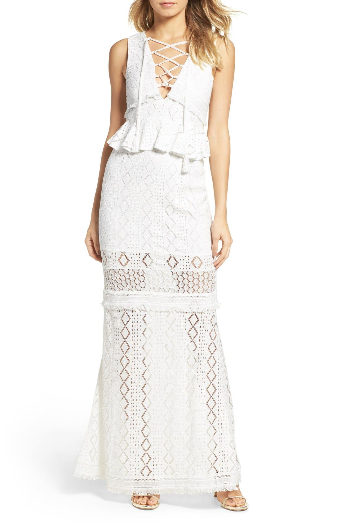 FOXIEDOX Aria Lace-Up Crochet Gown