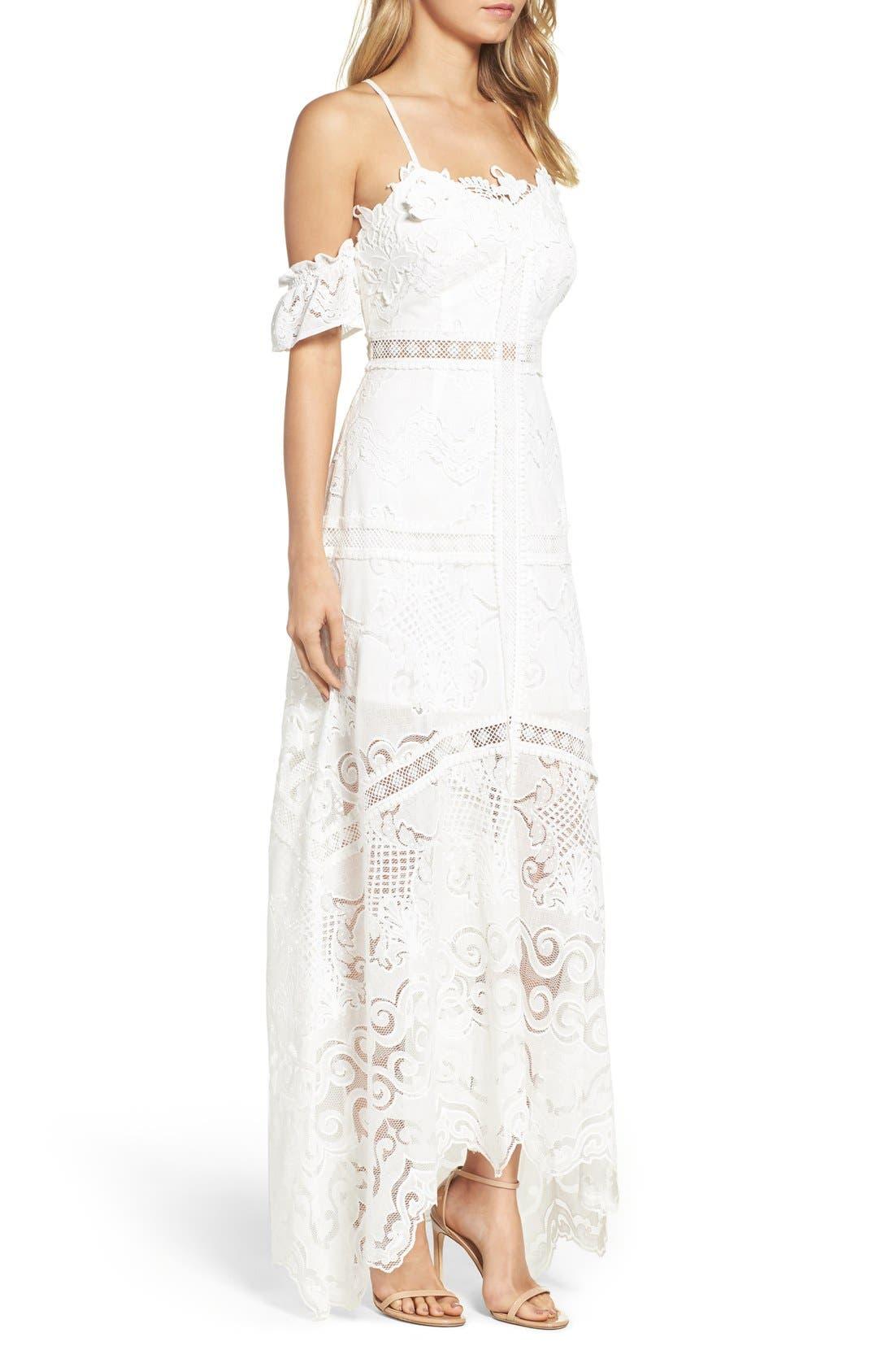 Alternate Image 3  - Foxiedox Kiera Off the Shoulder Crochet Gown