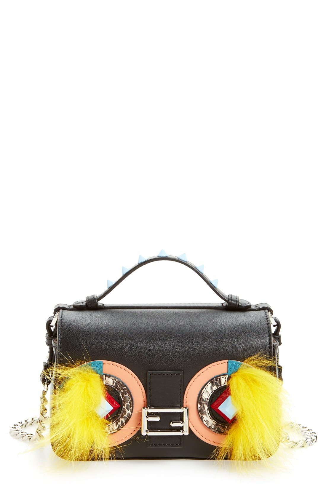 FENDI 'Double Micro' Calfskin Leather, Genuine Snakeskin &