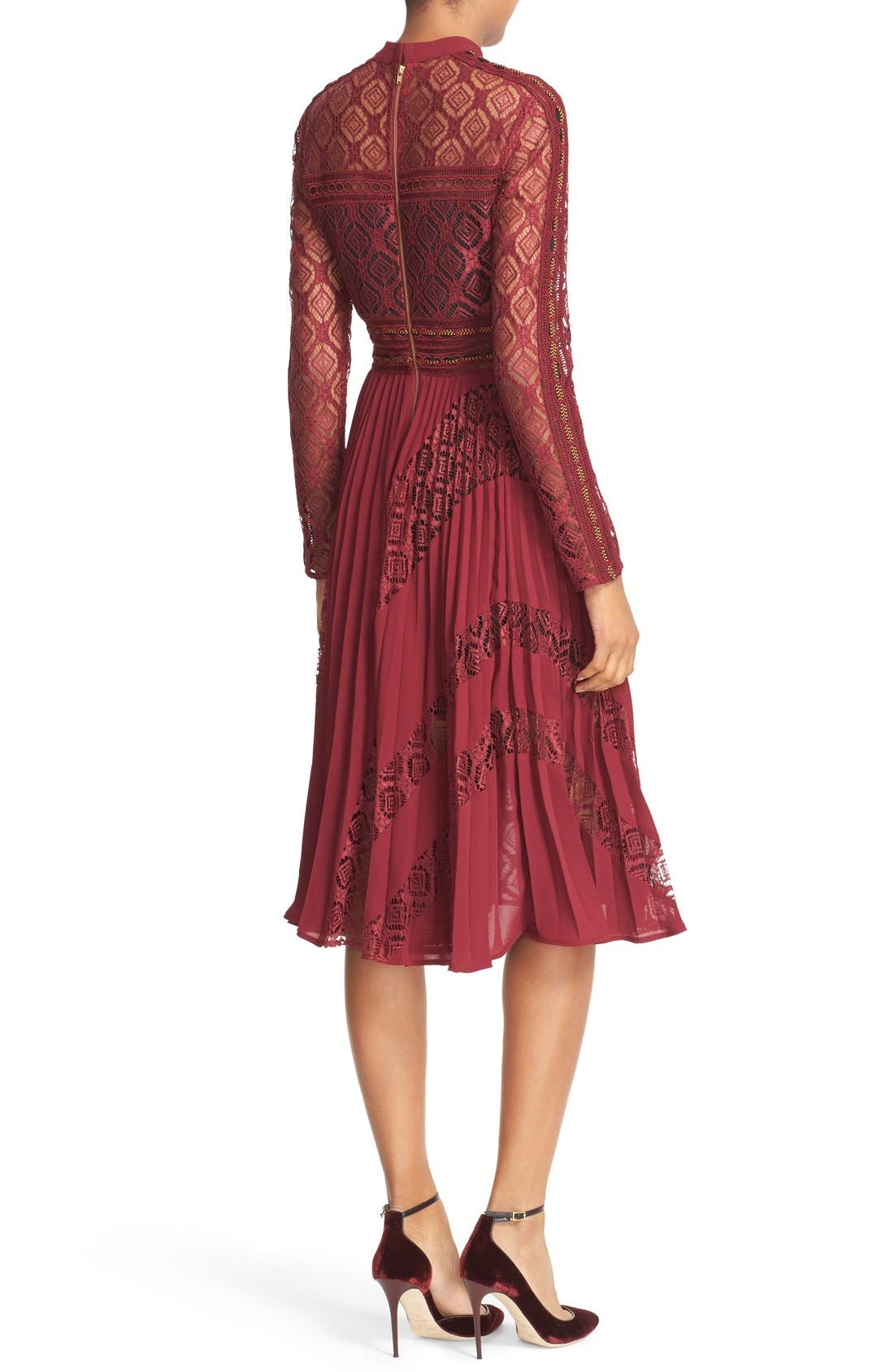 Alternate Image 3  - Self-Portrait Symm Lace & Chiffon Midi Dress