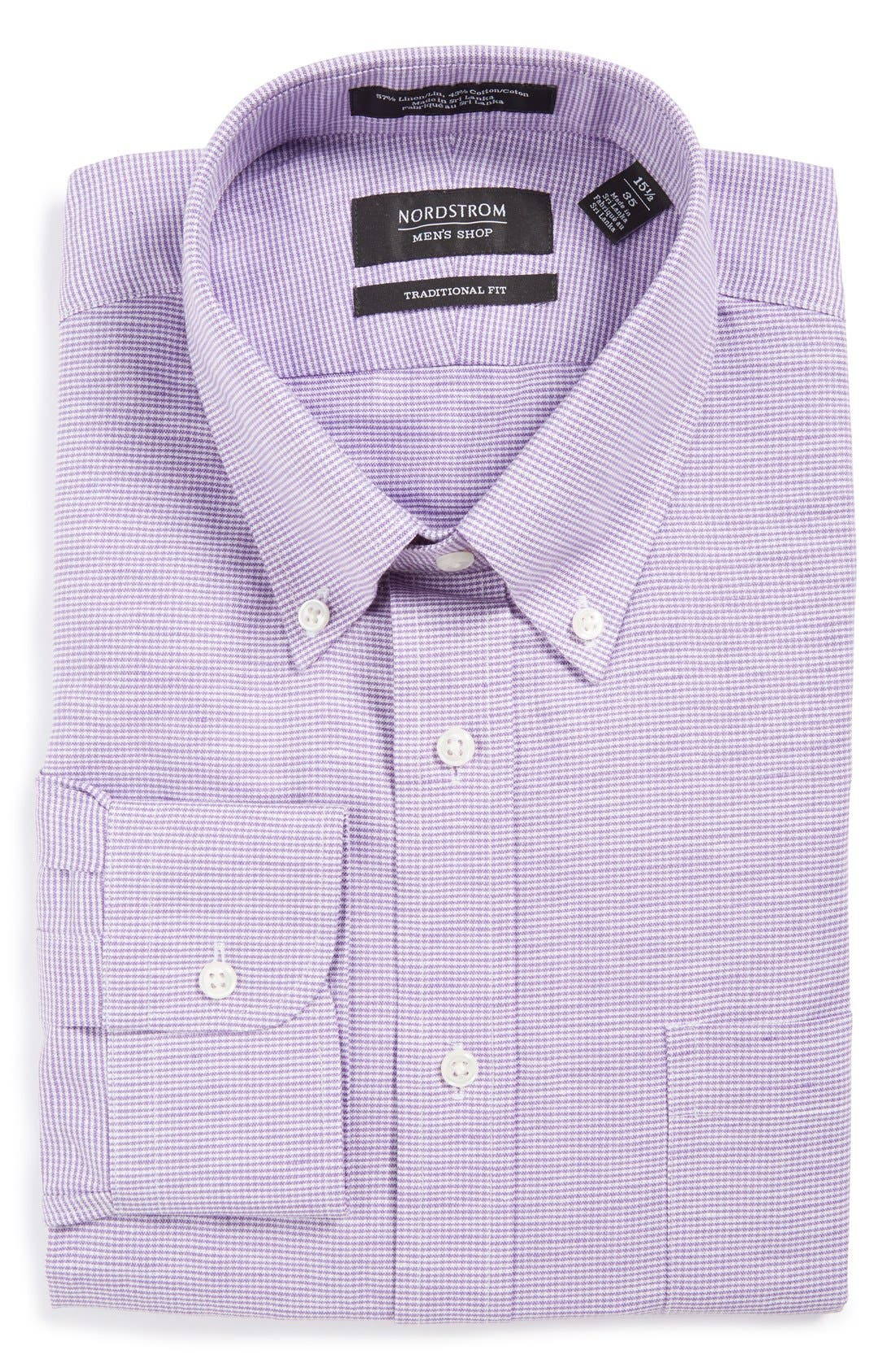 NORDSTROM MEN'S SHOP Traditional Fit Houndstooth Linen &