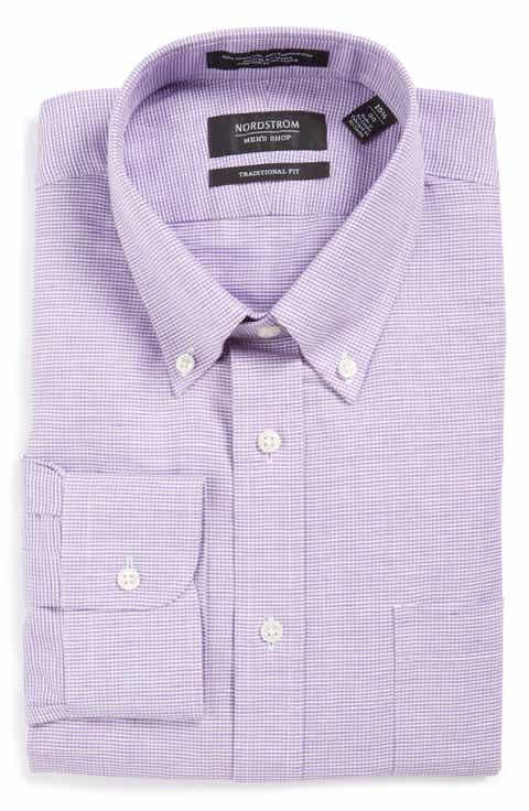 Nordstrom Men's Shop Traditional Fit Houndstooth Linen   Cotton Dress Shirt
