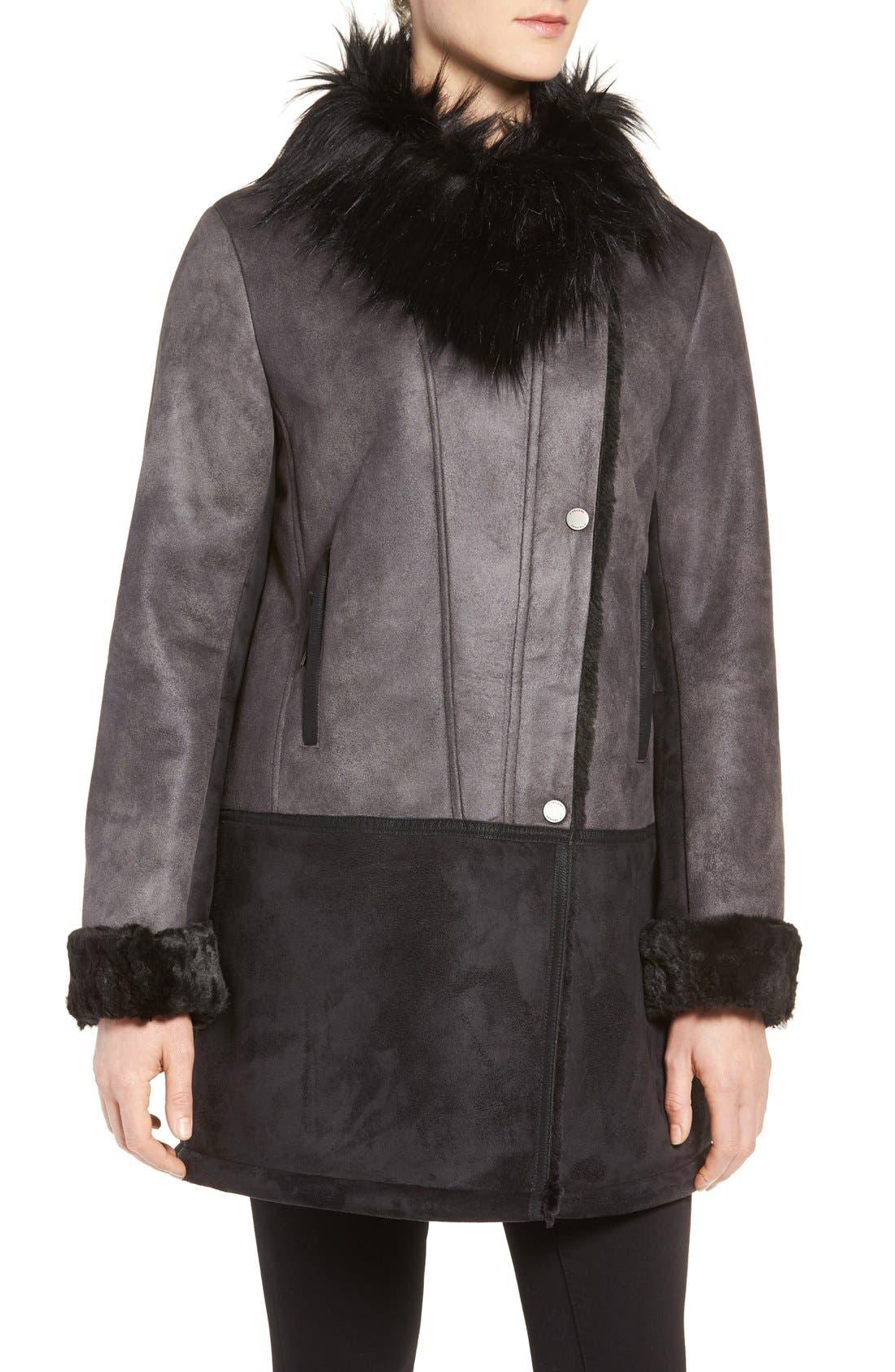 Alternate Image 4  - Tahari Faux Shearling Coat with Faux Fur Trim