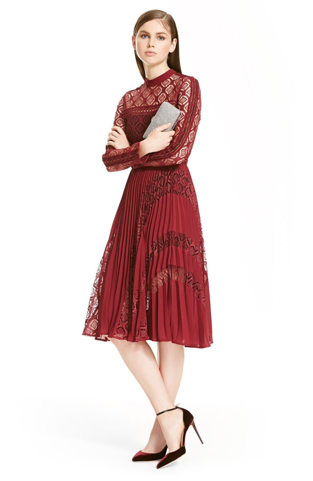 Alternate Image 7  - Self-Portrait Symm Lace & Chiffon Midi Dress
