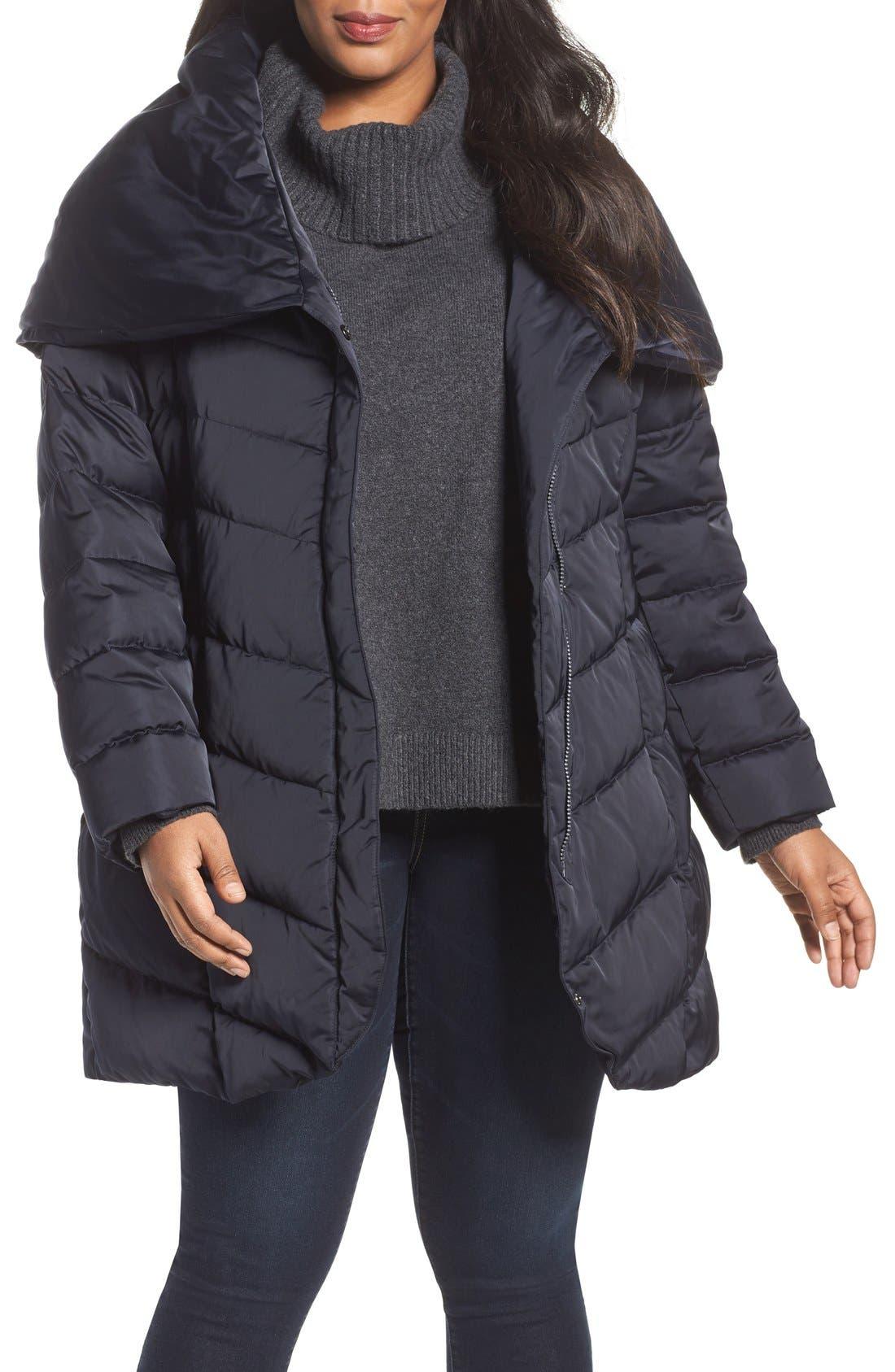 Alternate Image 4  - Tahari Matilda Shawl Collar Quilted Coat (Plus Size)