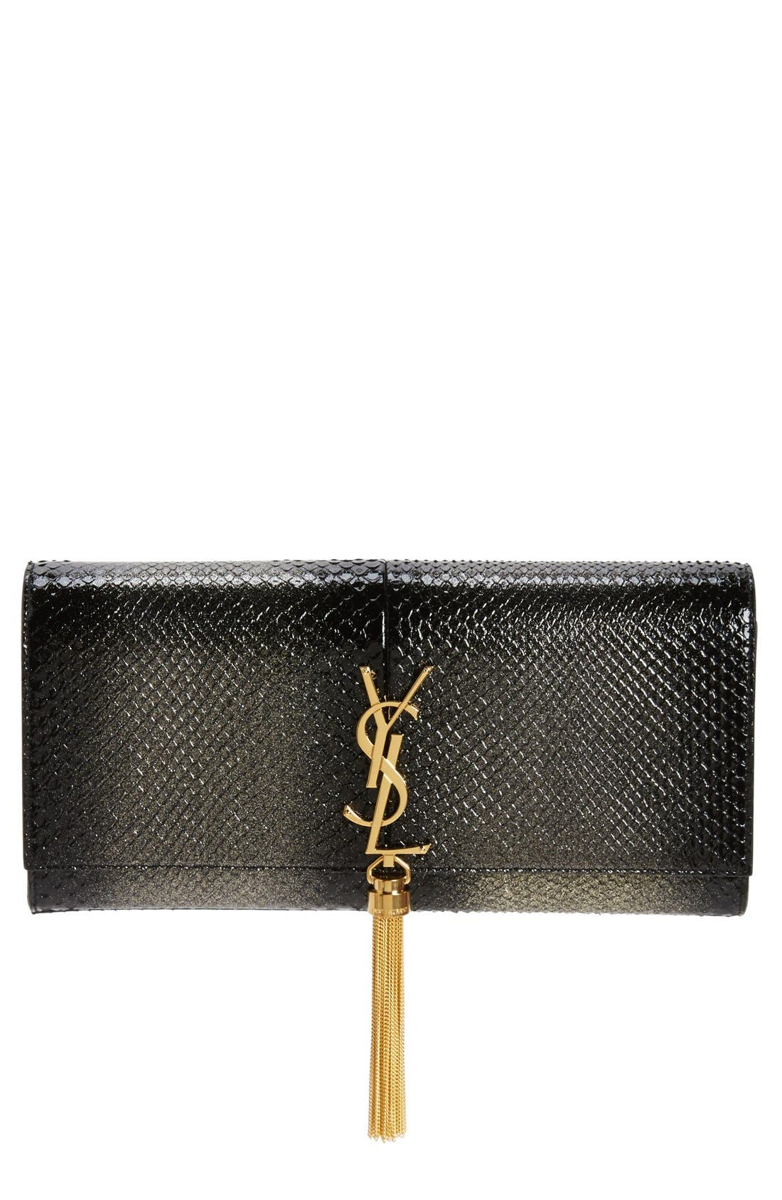 Saint Laurent Kate Monogram Genuine Python Clutch