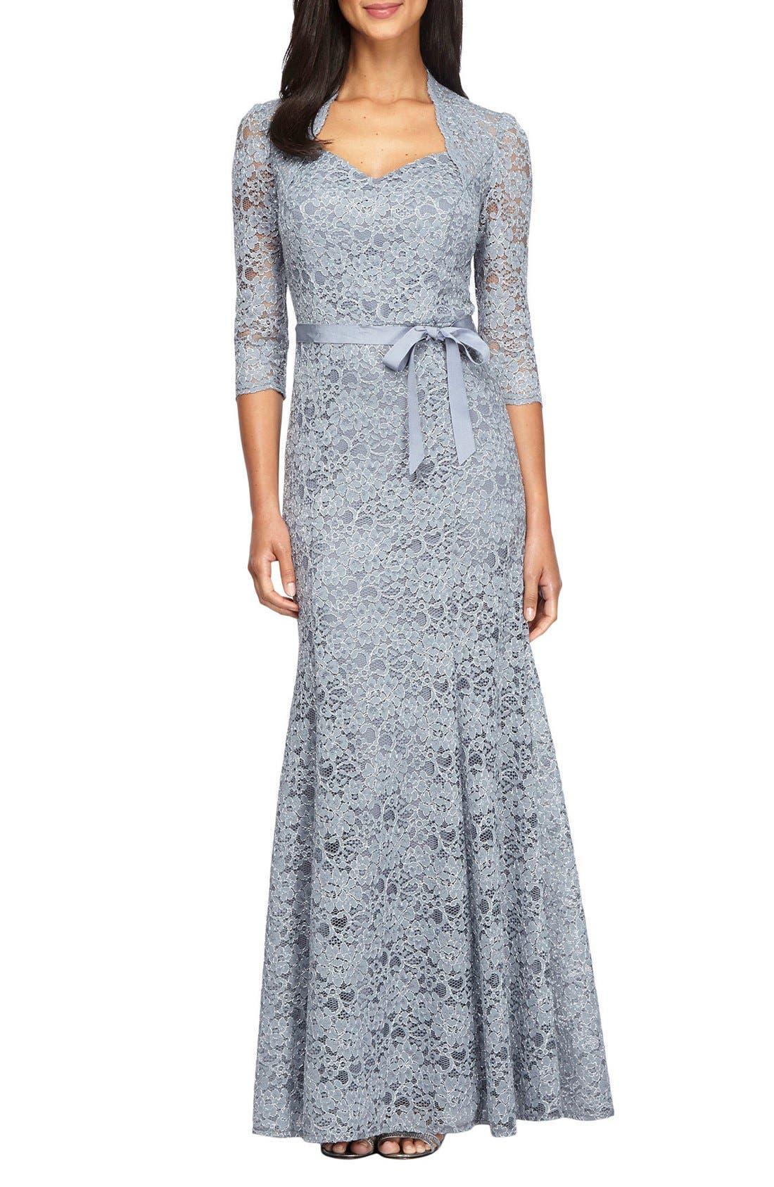 Main Image - Alex Evenings Metallic Lace Fit & Flare Gown (Regular & Petite)