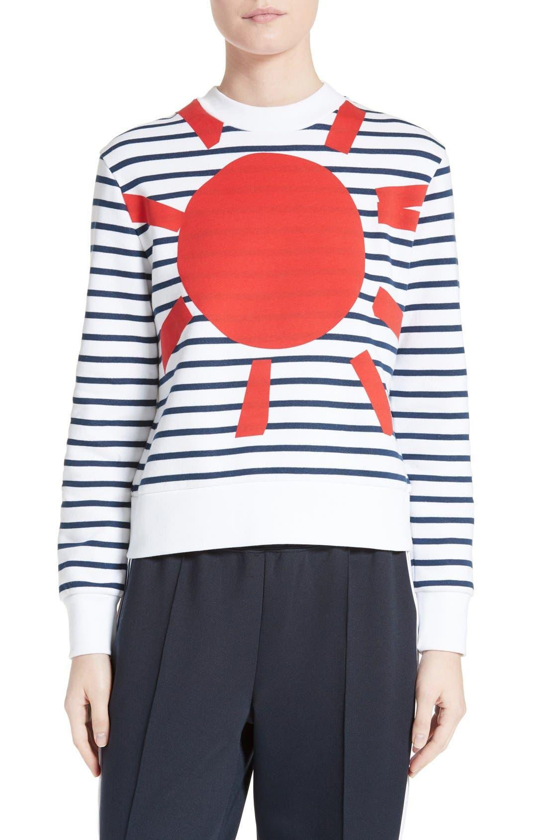 Alternate Image 1 Selected - être cécile Sunny Side Up Stripe Graphic Sweatshirt