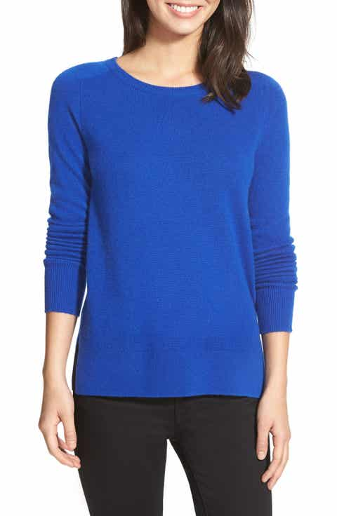 Halogen® Crewneck Lightweight Cashmere Sweater (Regular   Petite)