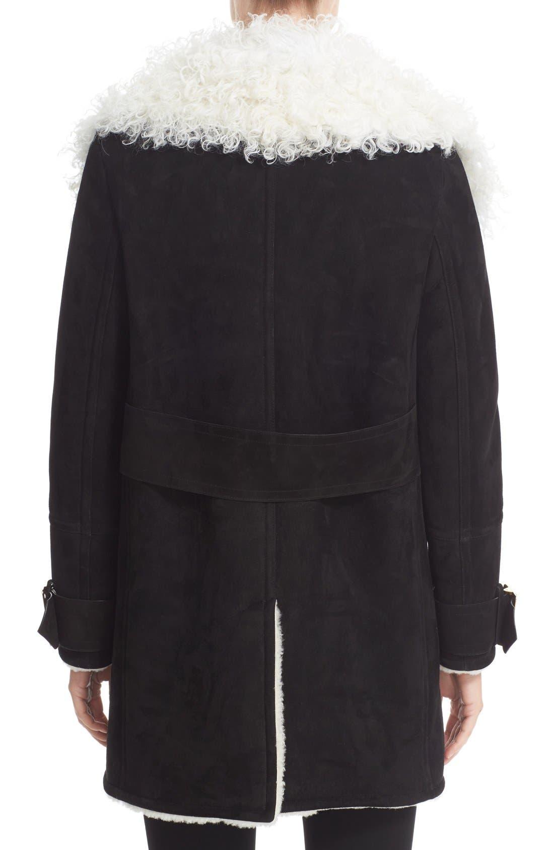 Alternate Image 2  - Burberry Norhurst Suede Coat with Genuine Shearling Trim