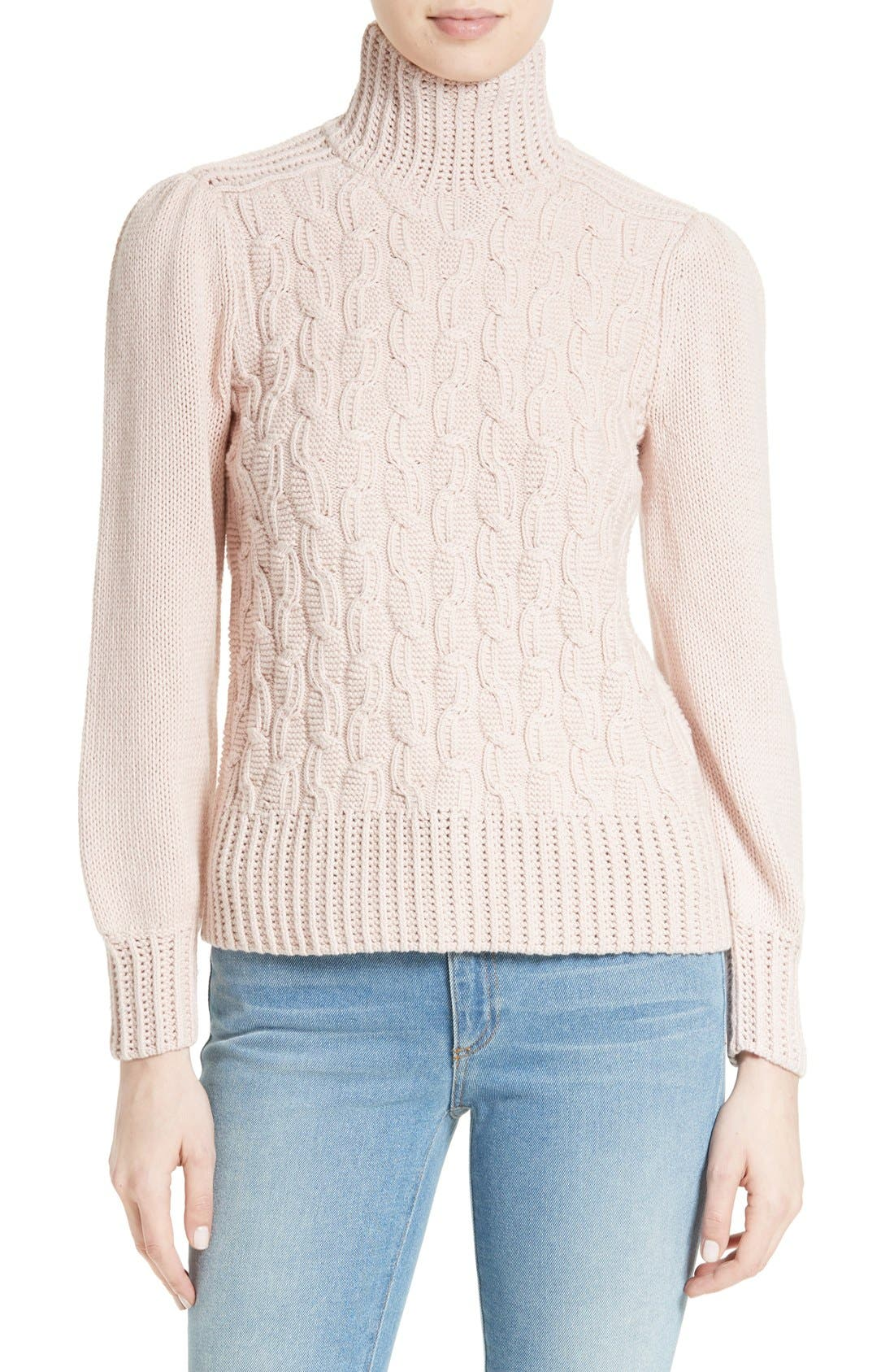 Main Image - La Vie Rebecca Taylor Cable Knit Turtleneck Sweater